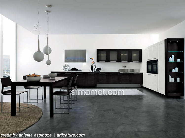 Desain Interior Dapur Minimalis Modern Black And White