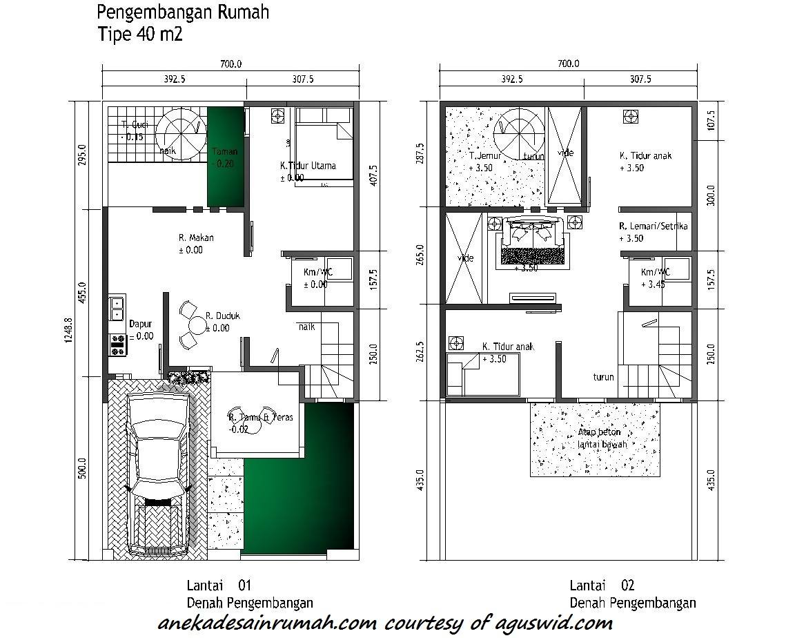 denah pengembangan rumah 2 lantai minimalis 1 si momot