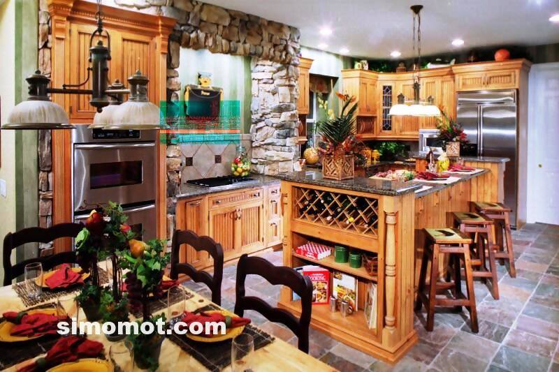 foto desain interior dapur kayu mewah 125 si momot