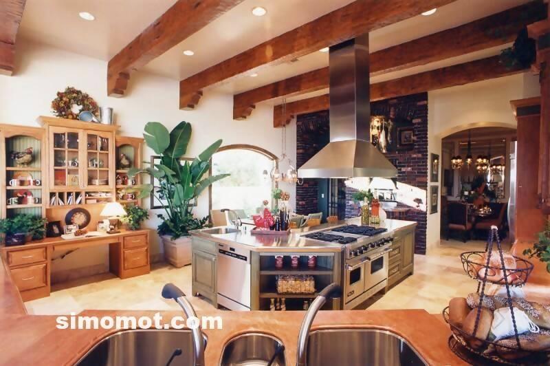 foto desain interior dapur kayu mewah 240 si momot