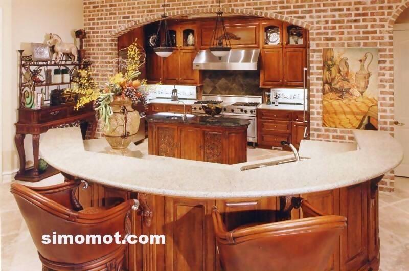 foto desain interior dapur kayu mewah 250 si momot