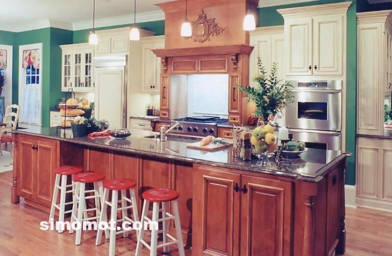 foto desain interior dapur kayu mewah 338 si momot