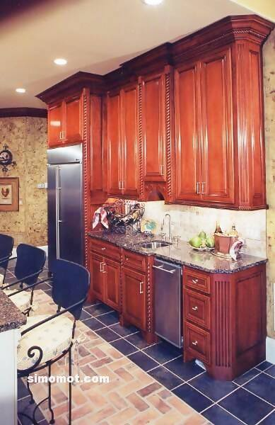 foto desain interior dapur kayu mewah 372 si momot