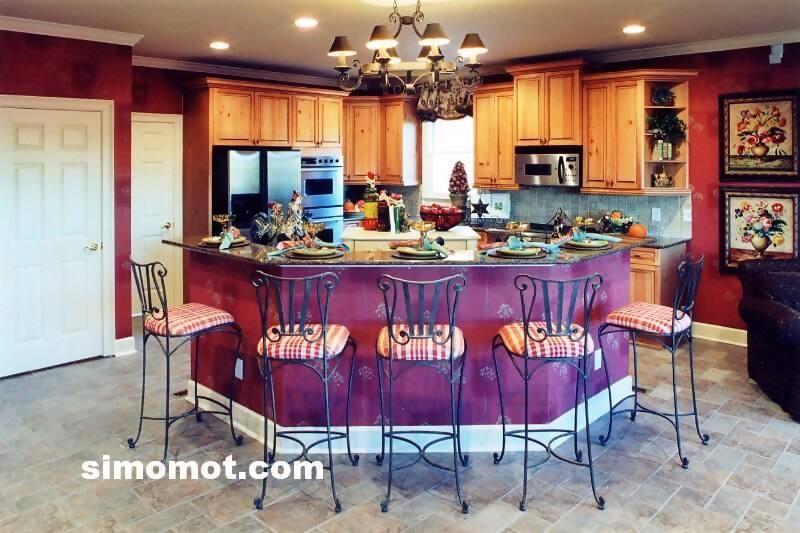 foto desain interior dapur kayu mewah 381 si momot