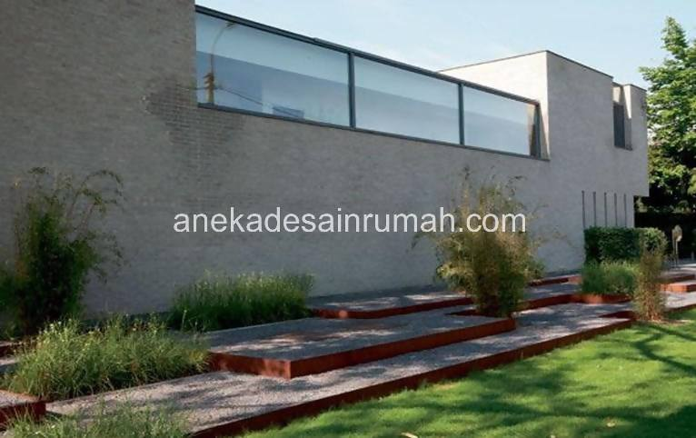 foto desain taman rumah minimalis tanpa air 232 si momot