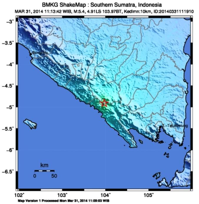 peta gempa bumi Baturaja