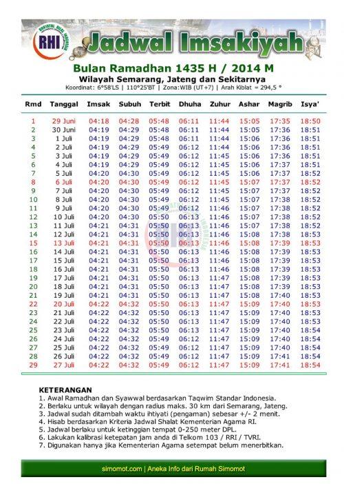 Jadwal Imsakiyah Ramadhan 1435 H - Daerah Semarang dan ...