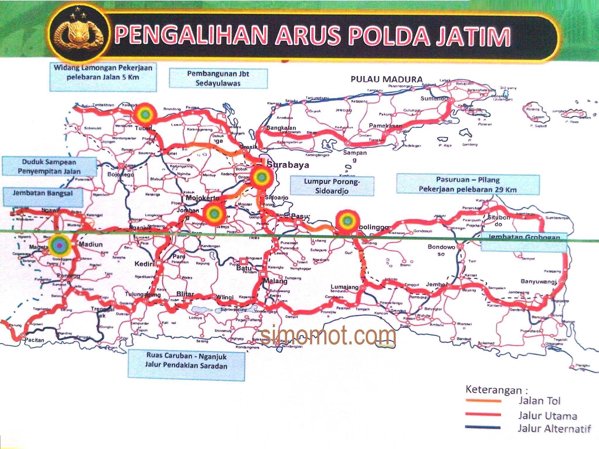 Inilah jalur-jalur alternatif pemudik di Jawa Timur - SIMOMOT