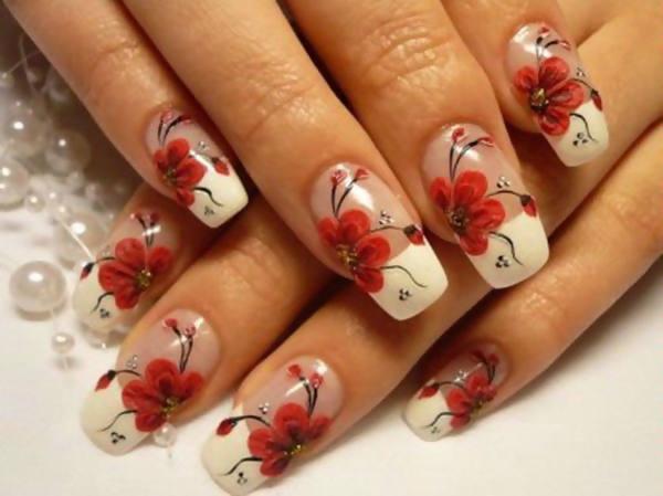 Рисунки на ногтях цветы и френч