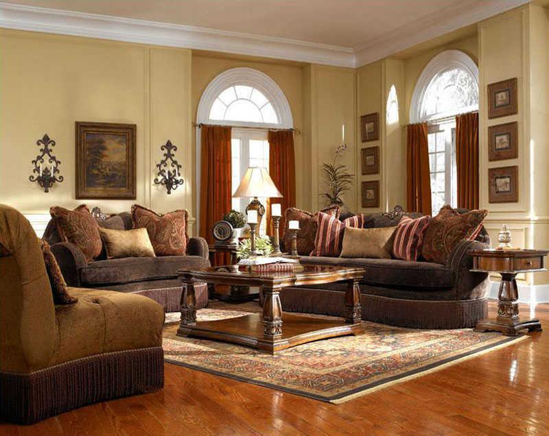 Sofa Ruang Tamu Warna Coklat Dan Merah Yang Menawan