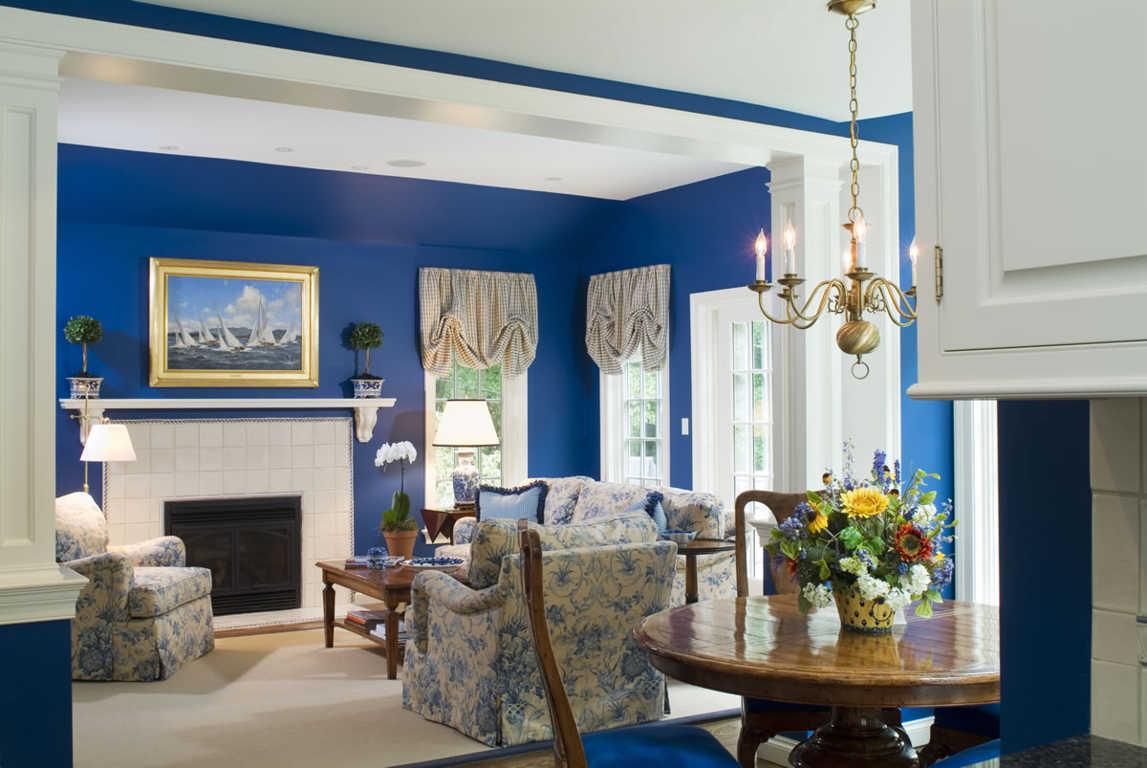 Desain Ruang Tamu Biru