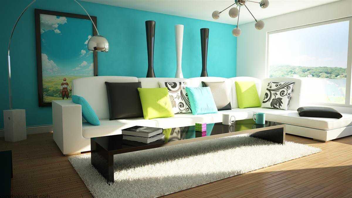 Desain Ruang Tamu Cat Biru