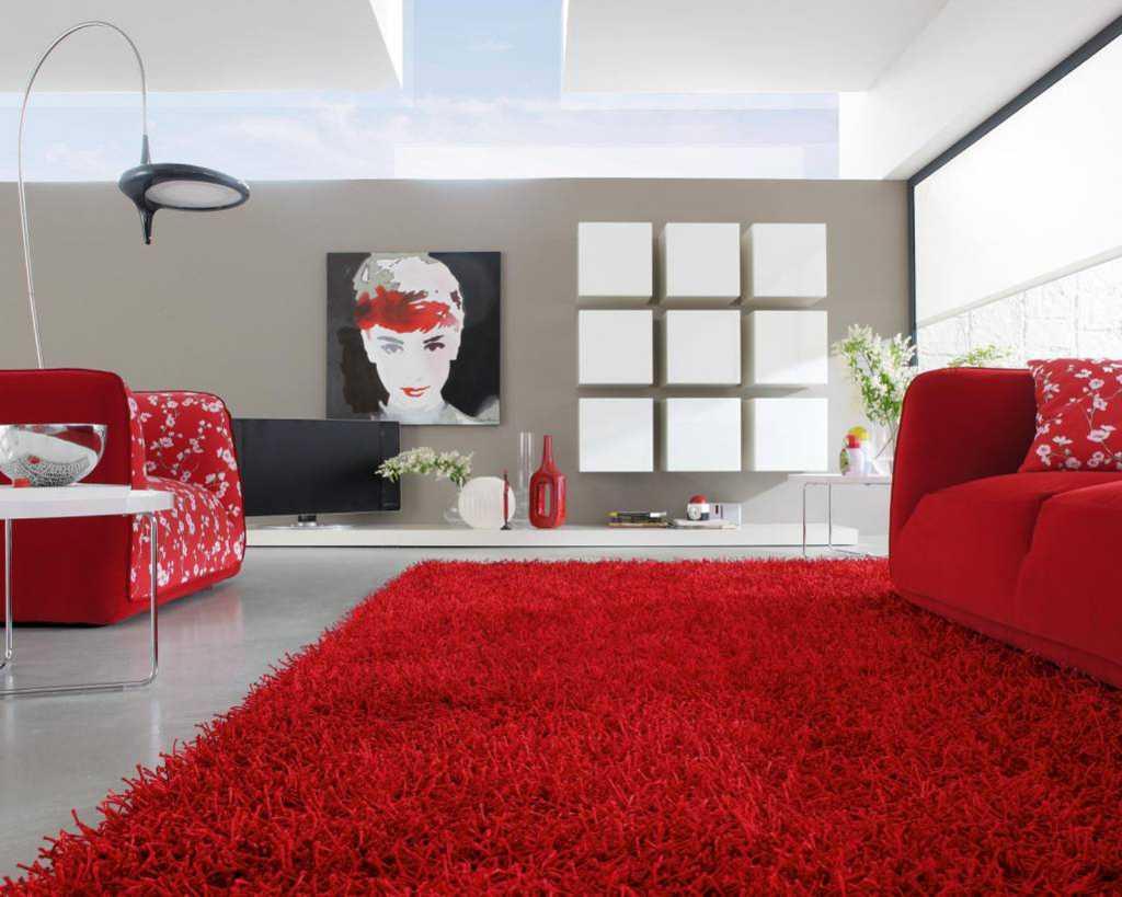 Karpet Lantai Rumah Minimalis Motif Abstrak Ruang Tamu Warna Merah