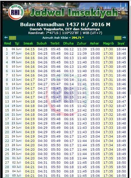 Jadwal Imsakiyah Ramadhan  H Yogyakarta Dan Sekitarnya