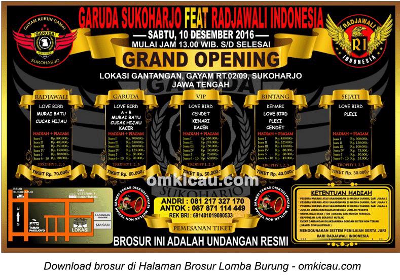 Brosur Grand Opening Garuda Sukoharjo feat Radjawali Indonesia, Sukoharjo, 10 Desember 2016