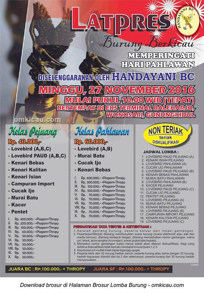 Brosur Latpres Hari Pahlawan Handayani BC, Wonosari, 27 November 2016