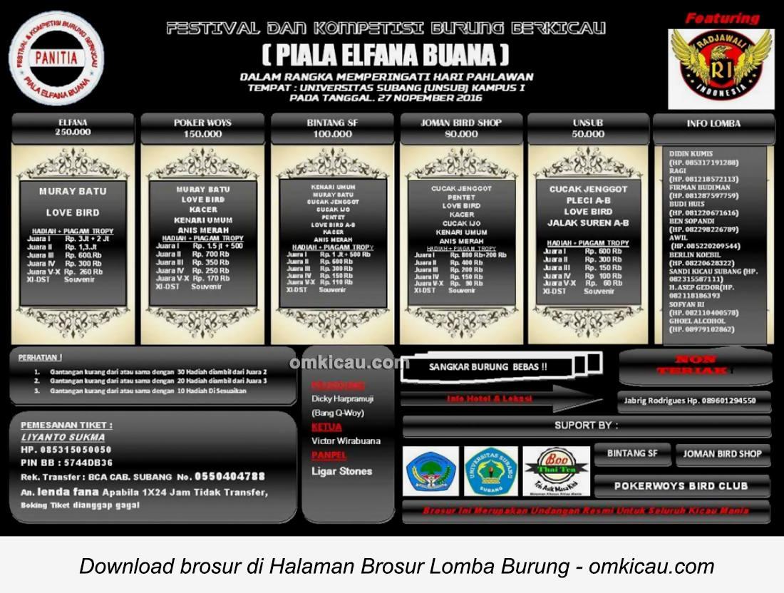 Brosur Lomba Burung Berkicau Piala Elfana Buana, Subang, 27 November 2016