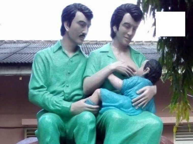 Penampakan Patung Lucu Ibu Menyusui Berwajah Elvis Presley Di Rsud Ibnu Sutowo Baturaja Simomot