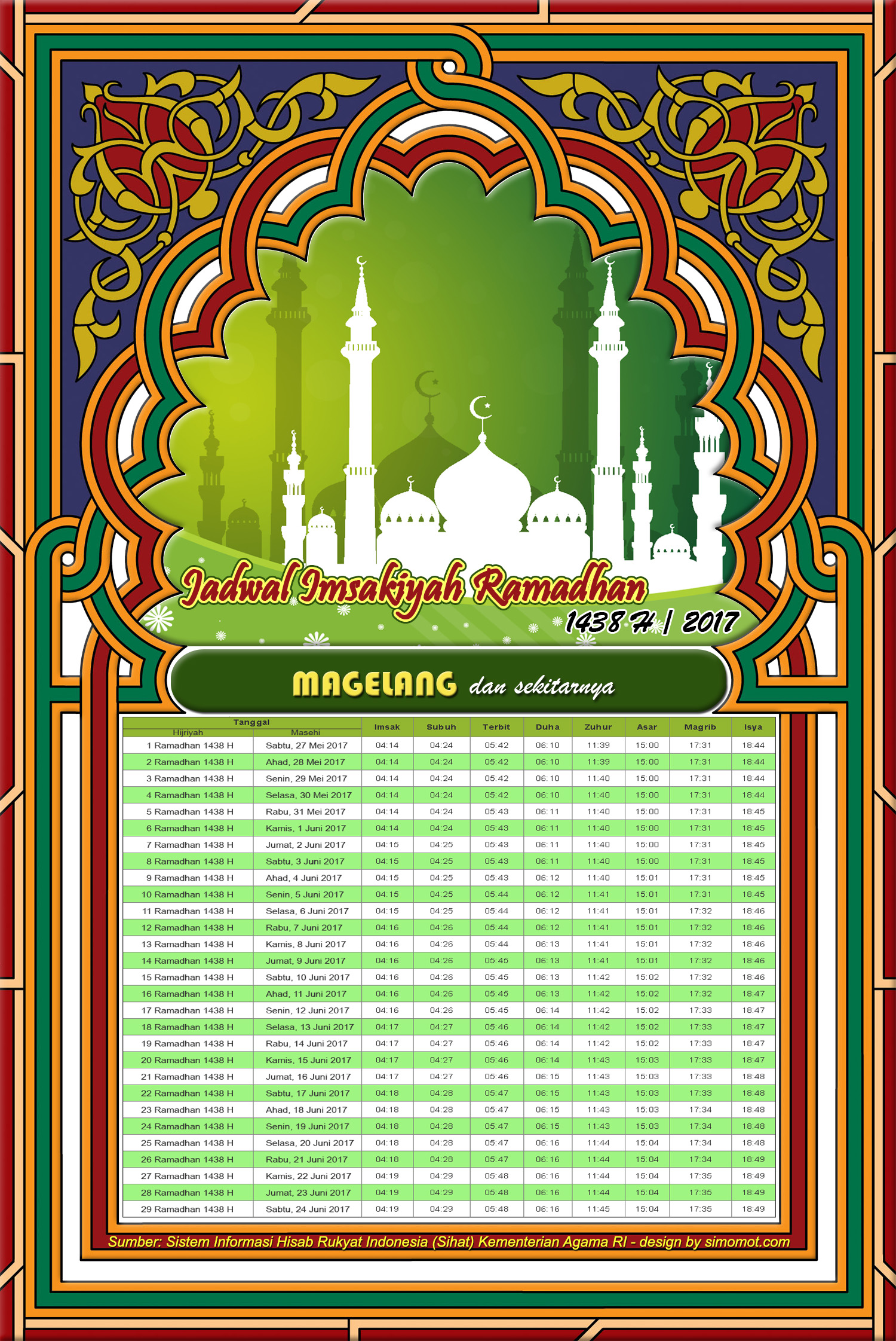 Jadwal Imsakiyah Ramadhan 1438 H - 2017 M seluruh wilayah ...